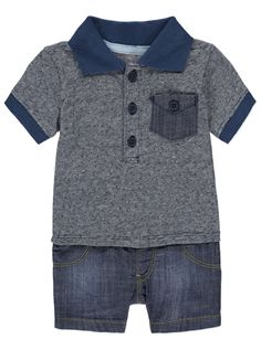 With a polo shirt top and shorts bottom, your little one will look super cute in this all-in-one. Toddler Fashion, Boy Fashion, Newborn Halloween, Baby George, Asda, Fashion Games, Latest Fashion For Women, Toddler Girl, Baby Boy