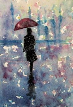 art card original aceo rain umbrella abstract painting landscape signed #Miniature
