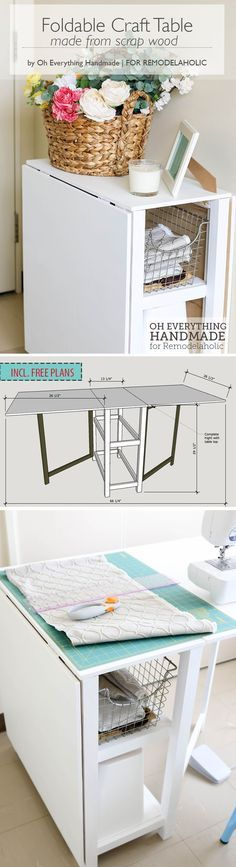Make your small craft area work with this space-conscious DIY foldable craft table, built from inexpensive materials or even scraps. Two fold-out gate-leg dropleaf sections create a small or large workspace, with storage in the base for a sewing machine or supplies. #folding_crafts_table
