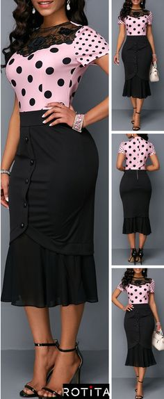 This dress with bodycon and Frill Hem design can show your sexy perfectly,you can wear it to your party or have a date with your friends,which is very suitable,this dress can make you the most attractive woman at the night.Get one you prefer. Office Dresses For Women, Trendy Clothes For Women, Modest Fashion, Trendy Fashion, Fashion Outfits, Trendy Style, Style Fashion, Womens Fashion, Latest African Fashion Dresses