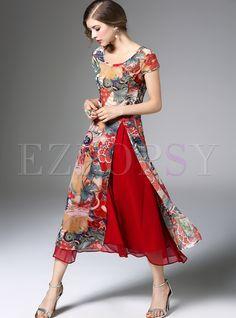 Stylish Floral Print Asymmetric Patch Split Skater Dress