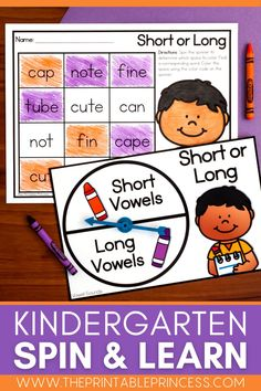 "This resource is a perfect way to make Kindergarten literacy and math centers EASY to prep and plan, interactive, meaningful, and FUN while focusing on letter recognition, phonemic awareness, CVC and CVCe words, shapes, making 10, addition, subtraction and MORE! With 100 center activities included, there's more than enough to incorporate a ""spinner center"" in your classroom the entire school year!"