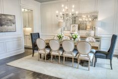 Formal dining room with fabulous trim wall detailing. Outdoor Living Areas, Formal Living Rooms, Wall Trim, Under Cabinet Lighting, Dining Room Inspiration, Farmhouse Table, House Floor Plans, Home Collections