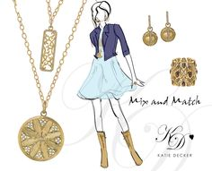 Mix and match -- long necklaces and classic earrings go from day to night.
