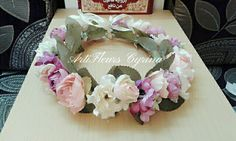 Purple cream pink floral crown made by #ArtiFleurs Cyrina  With high quality artificial flowers
