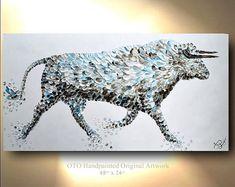 Bull pintura abstracta arte Animal toro Nandi pintura vaca pintura abstracta sobre lienzo Original y hecho a mano aceite de pintura de arte moderno por OTO