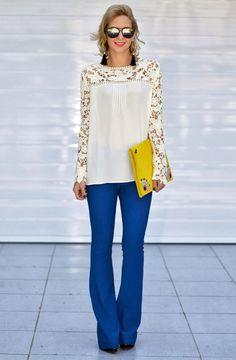 Blue plus yellow Timeless Fashion, High Fashion, Womens Fashion, Stylish Outfits, Fashion Outfits, Bell Bottom Pants, Vintage Wear, Blue Pants, Flare Jeans