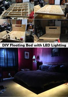 """DIY Floating Bed with LED Lighting Sick of typical beds in your home. Why not ugrade your bed to this amazing looking DIY Floating Bed with LED Lighting. It looks absolutely amazing and it turns an..."