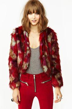 Patched Faux Fur Coat