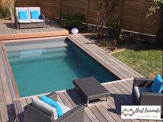 Small Backyard Patio, Backyard Pool Designs, Swimming Pools Backyard, Swimming Pool Designs, Fence Design, Patio Design, Piscina Diy, Piscina Rectangular, Kleiner Pool Design