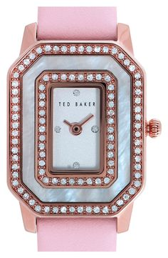 Swooning over this pretty pink and rose gold crystal watch.