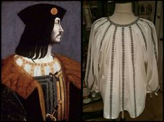 Right: Italian camica  (smock) reproduction,  ca. 1500, made by Angela Mombers