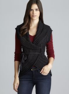 Charcoal Round Hem Cap Sleeve Cable Knit Wrap Cardigan