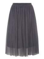 Womens Grey Tulle Midi Skirt- Grey