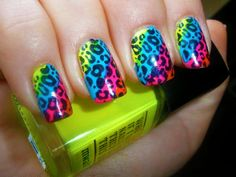 9 Best Neon Nail Art Designs : Neon nail art in rainbow and leopard: