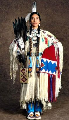 ~ Native American woman arrayed in colorful tribal dress. Native American Beauty, Native American Photos, American Indian Art, Native American History, American Indians, American Symbols, Native American Clothing, American Lady, Native American Horses
