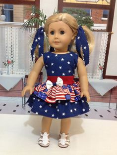 "American Girl ""Patriotic Lady""  4th of July picnic ready for american girls dolls or 18 inch similiar dolls"