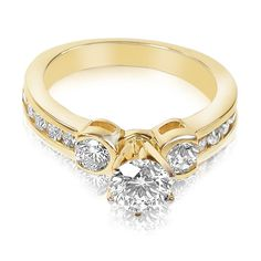 Present yourself with our luxuriant 14kt yellow gold diamonds engagement ring. Composed with 1.20CT round cut breathtaking diamonds . This engagement ring features exquisite diamonds of I-J color and, VS2-SI1 group clarity. Shine with elegance and simplicity with our 14kt yellow gold diamonds engagement ring.