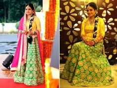 #WeddingSutraP2W A green lehenga paired with a yellow blouse and a pink dupatta by Tamanna Punjabi Kapoor for Bride Henna Jabbar of WeddingSutra.