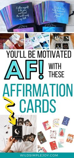 The Very Best Affirmation Card Sets for Motivation Inspiration and Meditation! These 18 sets of affirmation cards are an essential staple to any meditation practice, self love practice, or journaling. Use them to help empower you and reach your goals. Pocket Mantras, Sacred Empowerment Cards, Renegade Mama, Salvaged Sawhorse, Dreamy Moons, Pip & Doodle. The Power of Positive Thinking. #affirmations #selflove #confidence#meditationpractice #empowerment #reachyourgoals #meditation What Is Affirmation, Affirmation Cards, Positive Inspiration, Motivation Inspiration, Motivation Quotes, Positive Self Talk, Positive Thoughts, Mantra, Mindset Quotes Positive