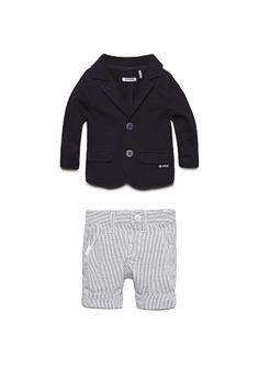 67823381d4fff Look printemps-été 2014 IKKS   veste esprit tailleur et bermuda à rayures bébé  garçon
