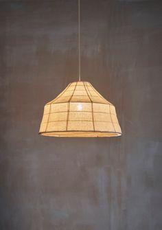 Soren light by Pinch Design with banana fiber shade and copper frame. Colored Weave, Copper Frame, Love Home, Furniture Design, Bulb, Ceiling Lights, Lighting, Pendant, Metal
