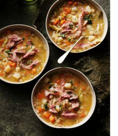 Rick Stein's pub food and Matthew Evans' ham hock & bean soup - Articles - Delicious. Ham Hocks And Beans, Ham And Bean Soup, Soup Recipes, Cooking Recipes, Healthy Recipes, Pub Food, Soup And Sandwich, Food Trends, Soup And Salad