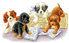 A free cross stitch chart of playful puppies getting into trouble!. Oh what amazing thing.