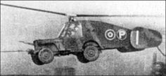 """A combination of a Willy MB Jeep, a rotaplane, and some creative design, the Rotabuggy was assembled by helicopter pioneer Raul Hafner. Better known as the Blitz Buggy by Hafner, it was an experimental aircraft that evolved from the other """"Rota concepts"""" (the Rota Tank and the Rotachute). Despite looking absolutely ridiculous and almost cartoon-like, the Rotabuggy successfully went airborne."""