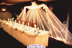 WEDDING BACK DROP FOR HEAD TABLE-this could be cute and done inexpensively in a country style wedding too :)