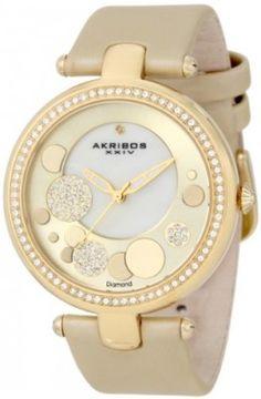 Relógio Akribos XXIV Women's AKR434YG Diamond Gold Sunray Diamond Dial Quartz Strap Watch #Relógio #Akribos