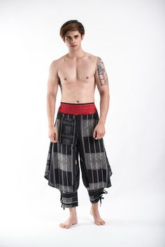 Amazing Unique High Cut Harem Pants made from fairtrade beautiful traditional hill tribe fabric from the North of Thailand. With open-side legs and ankle cuffs with adjustable straps, you can move fre