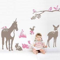 Unicorn Wall Decal Rabbit Squirrel Deer Wall by WallDecalDepot Kids Room Wall Decals, Animal Wall Decals, Nursery Wall Stickers, Mural Wall Art, Vinyl Wall Decals, Nursery Art, Unicorn Wall Decal, Unicorn Bedroom, Baby Bedroom