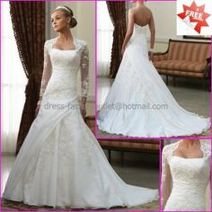 A-line White Organza Lace Bridal Gown Strapless Free Long Sleeves Wedding Dress