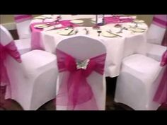 chair covers with butterflies, table runners, napkin ties and favors