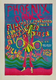 Janis Joplin: News - Phoenix Dance - Big Brother & The Holding Company, Quiksilver Messenger Service, Country Joe and The Fish, and Miller Blues Band played a benefit show to raise money for a community center in Mississippi and medical relief in North Vietnam. The show took place on March 12th, 1967 at the Fillmore Auditorium in San Francisco.