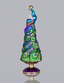 Grand Peacock Glass Tree Topper - Jewel