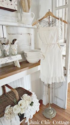 well heres a different kind of dress form...chicken wire ..bet I could fashion a stand from and old lamp stand and wooden hanger Junk Chic Cottage: Finally The Kitchen Reveal!!! Yeah!!!!