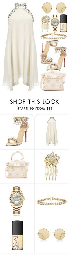 """""""A Summer Place"""" by egordon2 ❤ liked on Polyvore featuring Christian Louboutin, Lipsy, ZAC Zac Posen, Rolex, NARS Cosmetics and Sunday Somewhere"""
