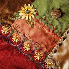 I ❤ crazy quilting . . . Lisa's work on Rita's Autumn DYB Block- ivoryblushroses