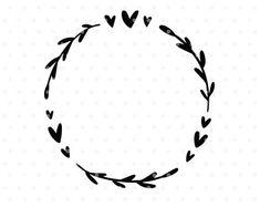 Heart wreath Svg, Flourish Svg, Leaves svg cut file, Svg clip art, Branch svg, Wreath clipart, svg cutfile for cricut, silhouette cut file