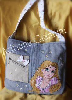 Borsa Rapunzel ♥ Totalmente realizzata a mano e dipinta a mano € 40 + SP Info 3203087887