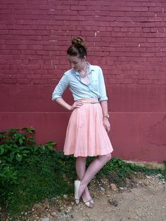 I love the light blue/chambray paired with peachy pink
