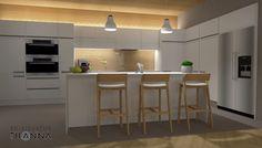 3D-visualisointi ja -sisustussuunnittelu uudisrakennukseen / moderni - skandinaavinen keittiö, sormipaneeli katossa sekä välitilassa lasin takana, valkoiset mattamaaalatut uralliset kiintokalusteet, betonilattia, tuntomaalilla harmaaksi maalatut seinät, kalanruotoparketti, epäsuorana valaistuksena ledipaneeli kaapiston päällä ja alla/ 3D-sisustus Tilanna