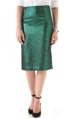 Mid-Length Marvels    The mid-length skirt is ideal for work or play. Mid-length skirts are the versatile silhouette of the bunch. We love the idea of wearing a sequined midi with a neutral-hued blouse and pointy-toed pumps for a festive office look or pairing a red rendition with a oversize knit and booties for brunch. Complement this Tibi Pencil Skirt  with a semi-sheer black blouse and pointy-toed pumps for a look that can go from the office to drinks straight after.
