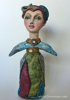 Polymer Clay art doll by Lisa Renner, hand painted eyes