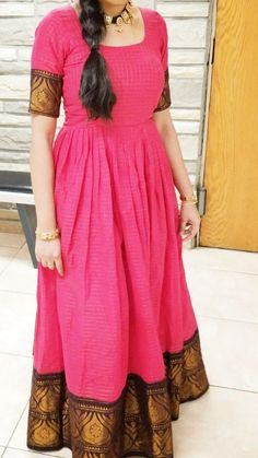 Innovative Ideas to make long gown dresses from old saree - Kurti Blouse Half Saree Designs, Salwar Designs, Saree Blouse Designs, Dress Designs, Saree Gown, Anarkali Dress, Long Gown Dress, Long Frock, Frock Dress