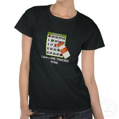 Bingo One Tracked Mind womens t-shirt. Spoil yourself with a fun or funny Bingo t-shirt! Everyone will love it.