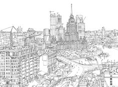 Line Drawing of Montreal Landscape Drawings, Architecture Drawings, Art Drawings, Town Drawing, Line Drawing, Cityscape Drawing, City Sketch, Futuristic City, Of Montreal