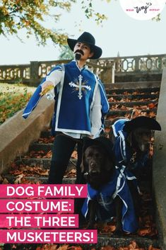 Halloween Family Costume With Dogs: The Three Musketeers Couple iDeas Halloween Family Costume With Dogs: The Three Musketeers Couple iDeas Family Costumes, Family Halloween Costumes, Pet Costumes, Group Costumes, Cool Costumes, Cheap Halloween, Costume Ideas, Musketeer Costume, Mustache And Goatee